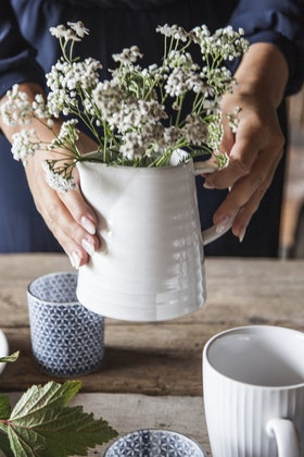 Botsmark Ljuslykta - Blommig - Blå