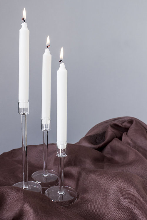 Glasljusstake - 24 cm - Stor