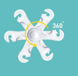 bild som visar att vårt skåpslås kan roteras i 360 grader