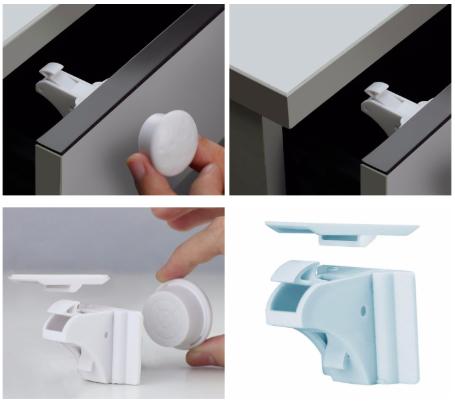 Osynligt barnlås med magnet - monterat i låda