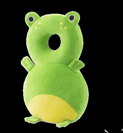 Ett mjukt huvudskydd till barn som ska lära sig gå i form av en grön groda