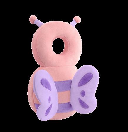 Ett mjukt huvudskydd till barn som ska lära sig gå i form av en rosa fjäril