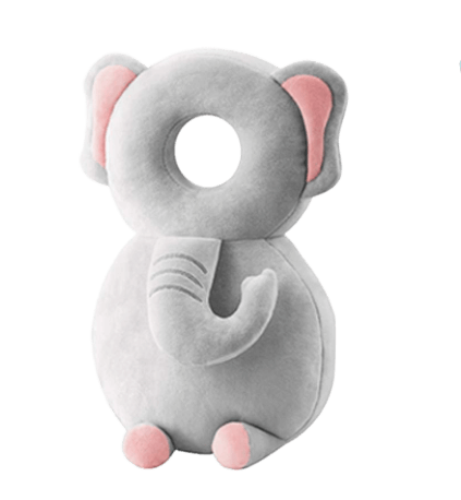 Ett mjukt huvudskydd till barn som ska lära sig gå i form av en grå elefant