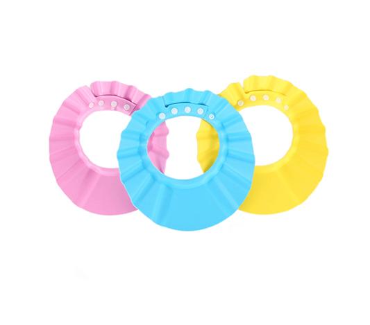 duschskärm till barn i färgerna gul, rosa och blå