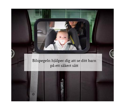 Bilspegel till barn monterad i ett bilsäte