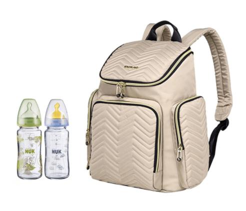 Produktbild på en Khan skötväska från Colorland med två nappflaskor jämte sig