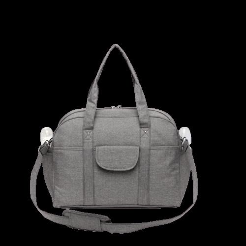 Bild på grå skötväska i form av en bag.