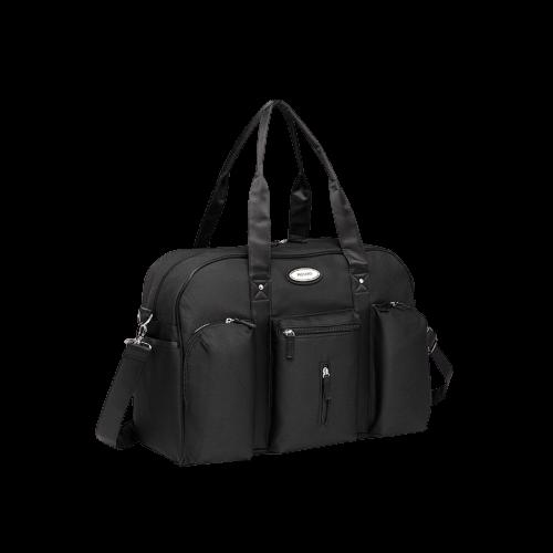 Bild på svart skötväska i form av en bag.