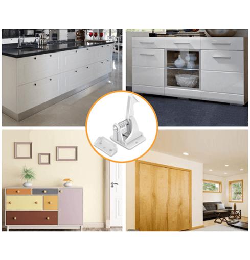 Bild på olika möbler som du kan använda våra skåpslås på