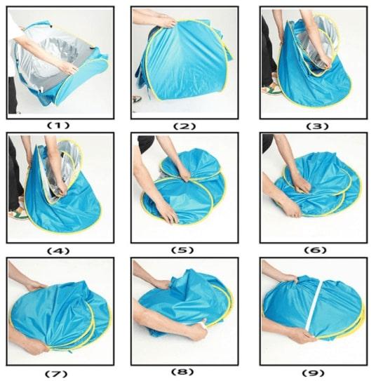 Anvisning för hur du fäller ihop ditt UV-tält för barn