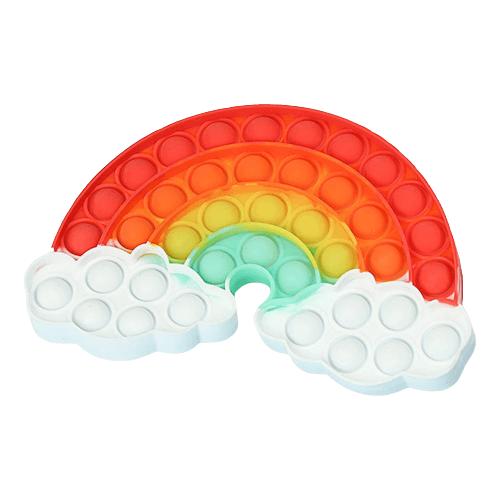 Rolig pop-it i form av en regnbåge i regnbågens färger