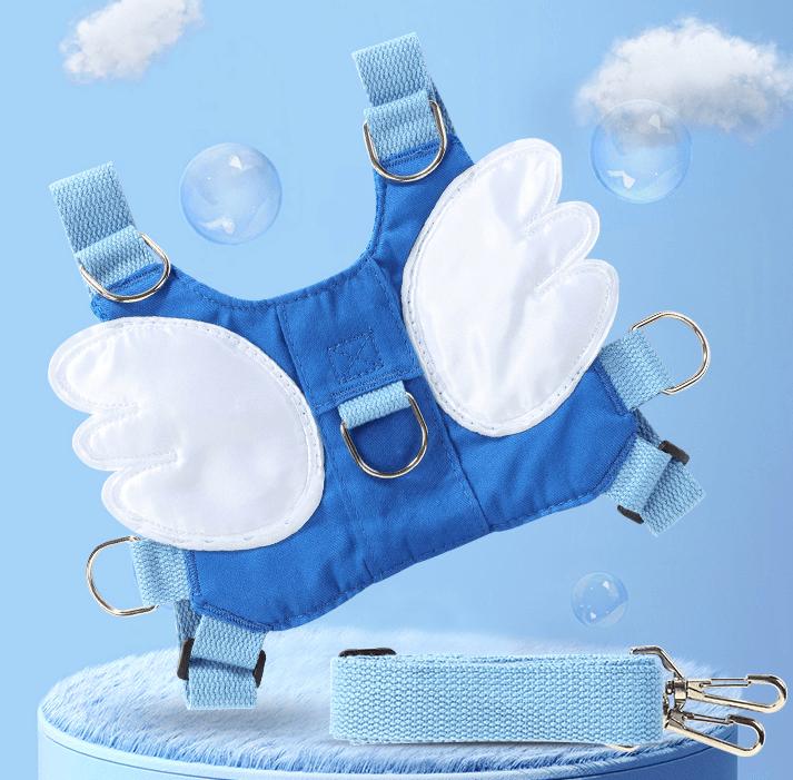 säkerhetssele i blå färg med vita vingar