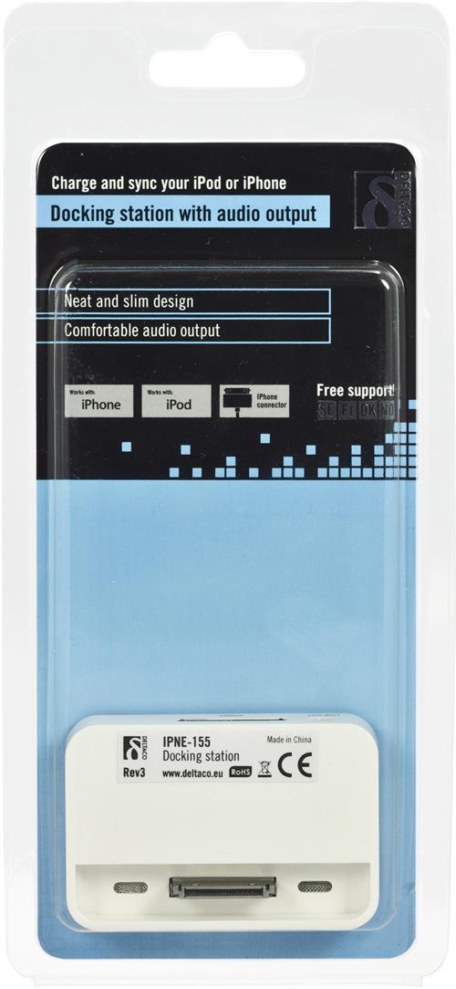 Dockningsstation för iPhone och iPod, 3,5mm ljudutgång, vit