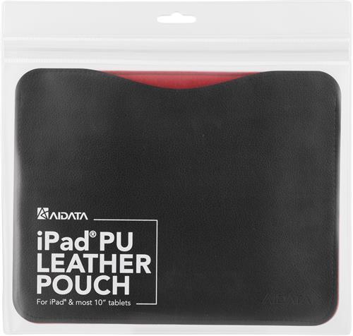 Fodral i konstläder för iPad med skyddande insida, svart/röd