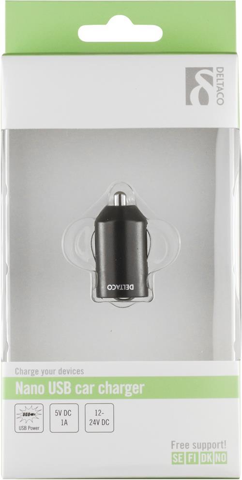 Billaddare Cigarettändare för bil, 1A, 1x USB Type A, 12-24V DC