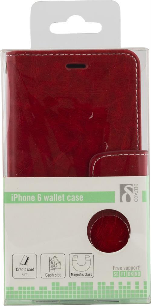 Plånboksfodral för iPhone 6, konstläder, fack för kreditkort
