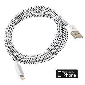 Lightning kabel 2 meter för Apple Braided, Vit