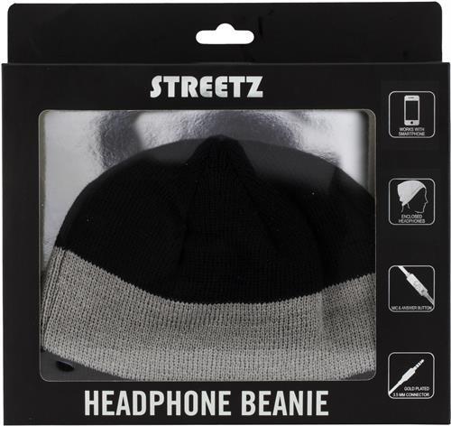 STREETZ mössa med hörlurar & mikrofon 3,5mm kontakt svarsknapp