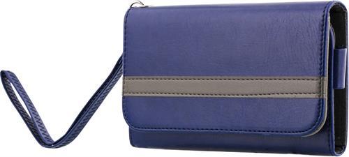 Universal plånboksfodral för smartphones, konstläder, 4 fack blå