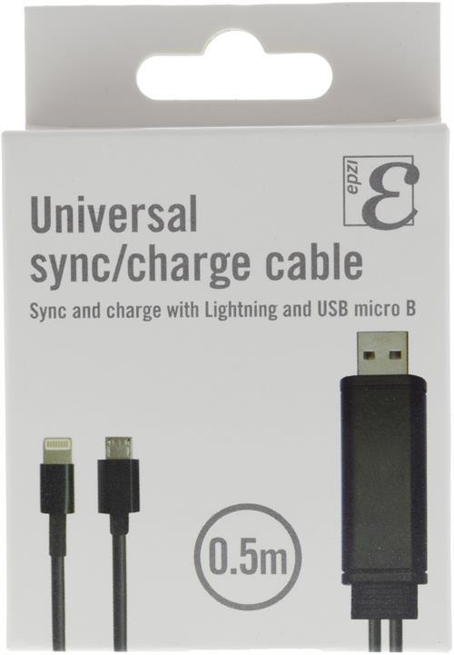 Universal sync/laddkabel, USB till Micro USB, Lightning, 0,5m svart