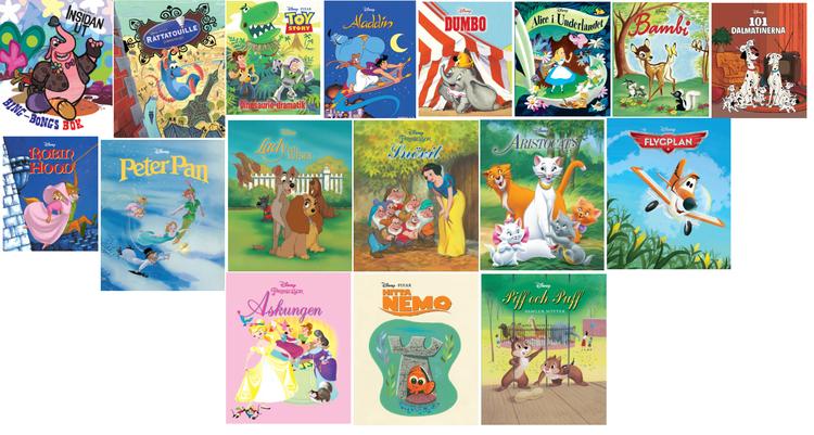 Disney Klassiker Barnböcker i mini format, som en pixi bok