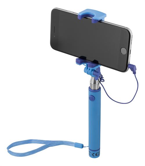Selfiestick med slutare & spegel för iOS/Android, 3,5mm Blå färg