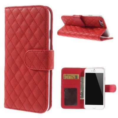 Röd Plånboksfodral till iPhone 6 Quiltmönster