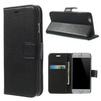 Svart Plånboksfodral till iPhone 6 med mjuk insida