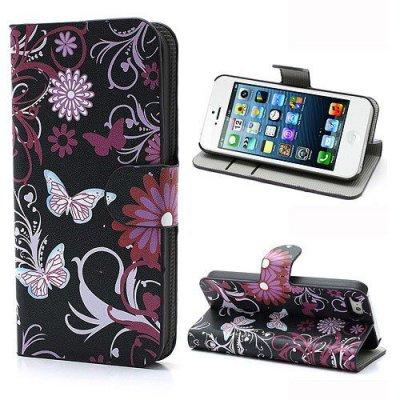 Fodral till iPhone 5 5S Fjärilar & blommor
