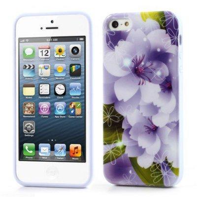 Flexibelt Skal till iPhone 5 5s Lila blommor - TPU Skal
