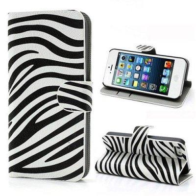 Fodral till iPhone 5 5S Zebra Svart/Vit