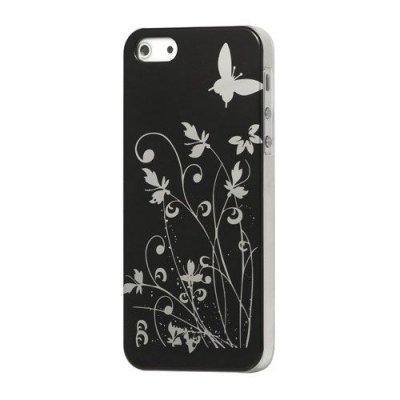 Hårt Skal iPhone 5 5S Med motiv fjärilar & blommor - Svart