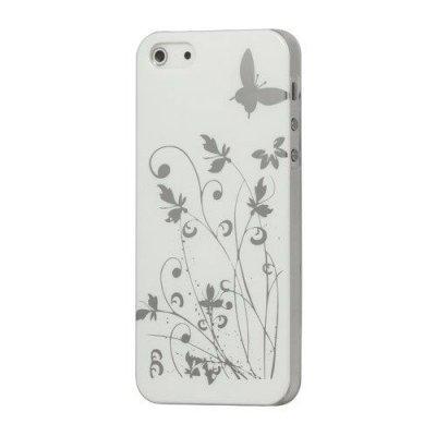 Hårt Skal iPhone 5 5S Med motiv fjärilar & blommor - Vit