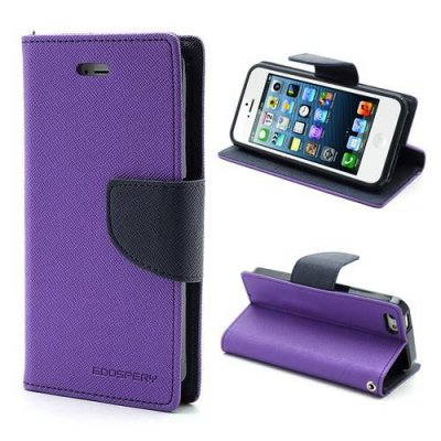 Plånboksfodral Mercury Fancy Diary till iPhone 5 5s Lila/Svart