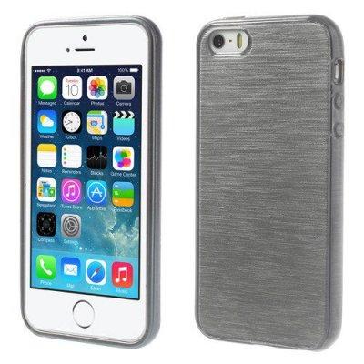 Skal iPhone 5 5s Mörkgrå borstad blankt mjukt skal