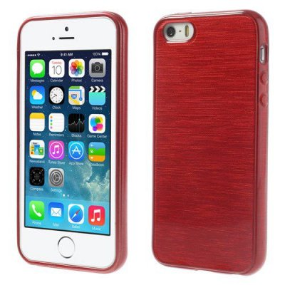 Skal iPhone 5 5s Röd borstad blankt mjukt skal