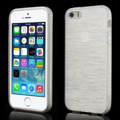 Skal iPhone 5 5s Vit borstad blankt mjukt skal
