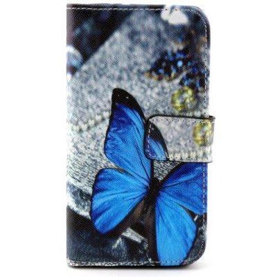 Plånboksfodral Samsung Galaxy Alpha Blue Butterfly