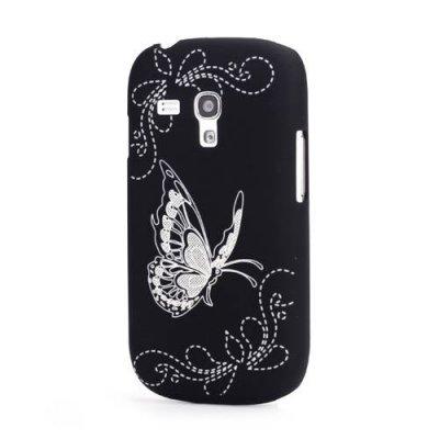 Skal Samsung Galaxy S3 mini graverad fjäril svart