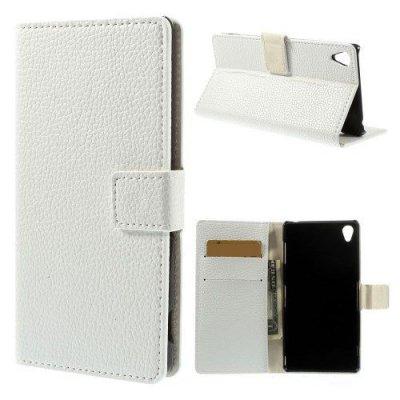 Plånboksfodral till Sony Xperia Z3 litchi struktur Vit