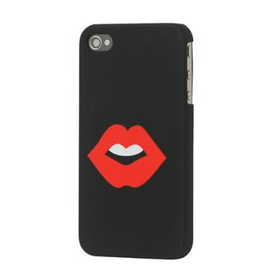 Hårt Skal till iPhone 4 4S Svart med motiv röda läppar
