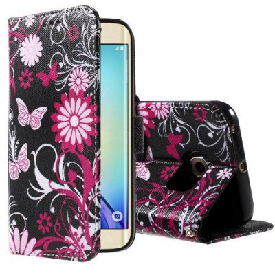 Plånboksfodral Samsung Galaxy S6 Edge Fjärilar & blommor