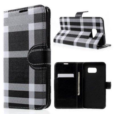 Plånboksfodral till Samsung Galaxy S6 Edge Plus i Rutmönster