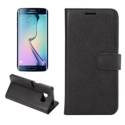 Plånboksfodral till Samsung Galaxy S6 Edge Plus Litchi Svart