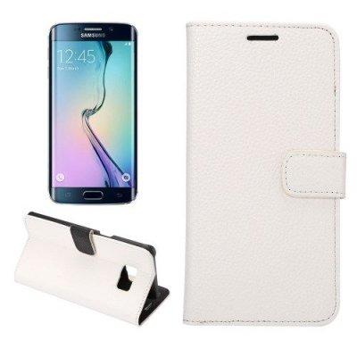 Plånboksfodral till Samsung Galaxy S6 Edge Plus Litchi Vit