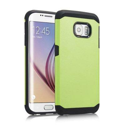 Skal till Samsung Galaxy S6 Edge -Grönt skal som ger dubbelskydd