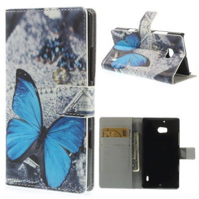 Plånboksfodral till Nokia Lumia 930 Blue Butterfly