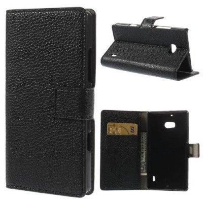 Plånboksfodral till Nokia Lumia 930 Litchi Grain Svart