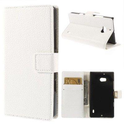Plånboksfodral till Nokia Lumia 930 Litchi Grain Vit