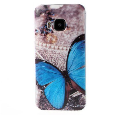 Flexibelt Skal till HTC One M9 med motiv blå fjäril